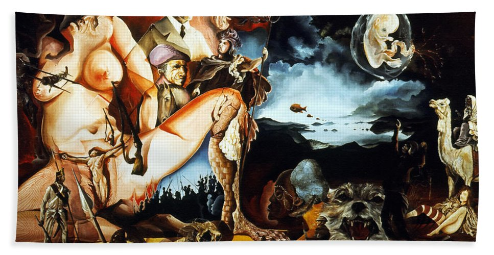 War Hand Towel featuring the painting Monument To The Unborn War Hero by Otto Rapp