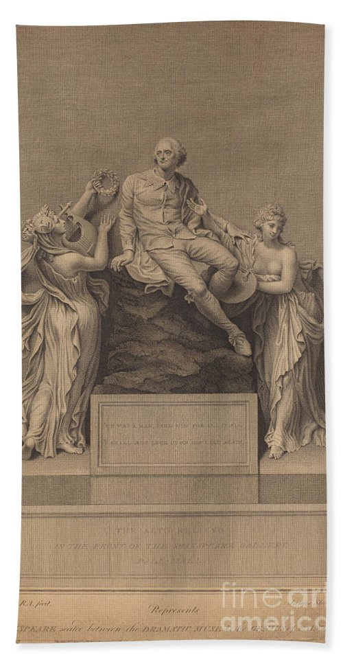 Hand Towel featuring the drawing Monument To William Shakespeare by James Stow After Thomas Banks