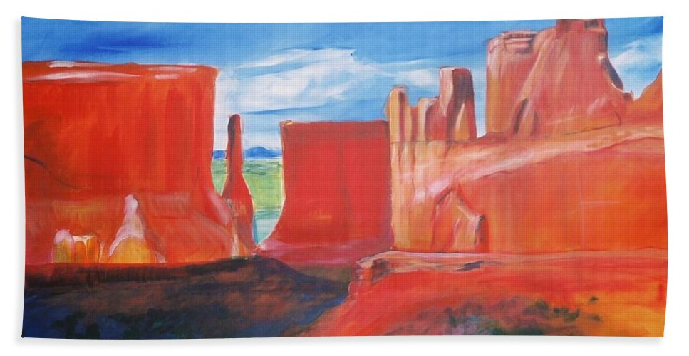 Floral Hand Towel featuring the painting Monument Valley by Eric Schiabor