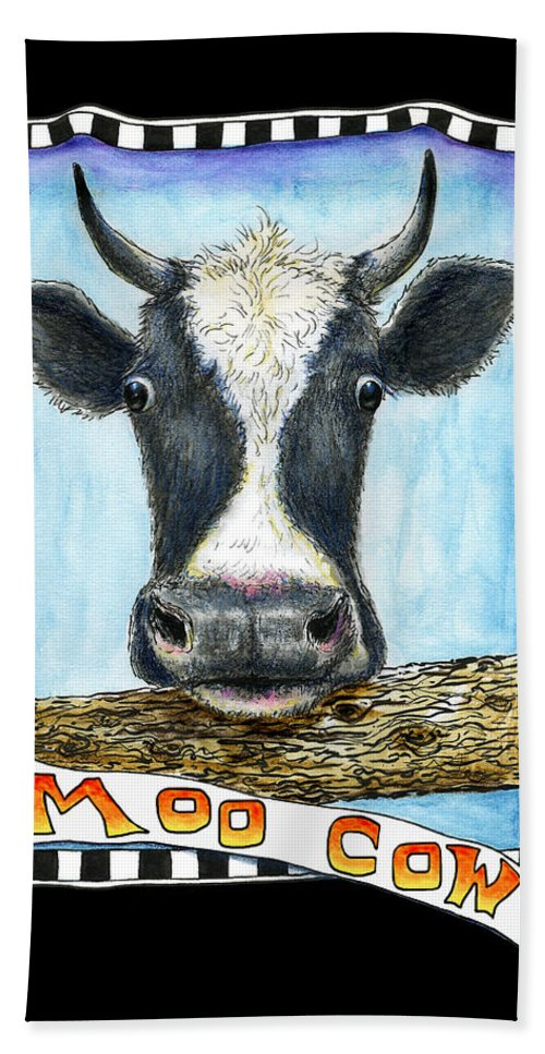 Cow Hand Towel featuring the drawing Moo Cow In Black by Retta Stephenson