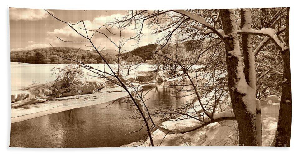 Brook Hand Towel featuring the photograph Mood Of Winter by Deborah Benoit