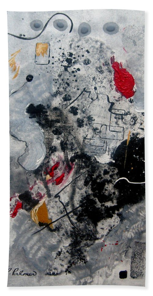 Abstract Hand Towel featuring the painting Moods II by Ruth Palmer