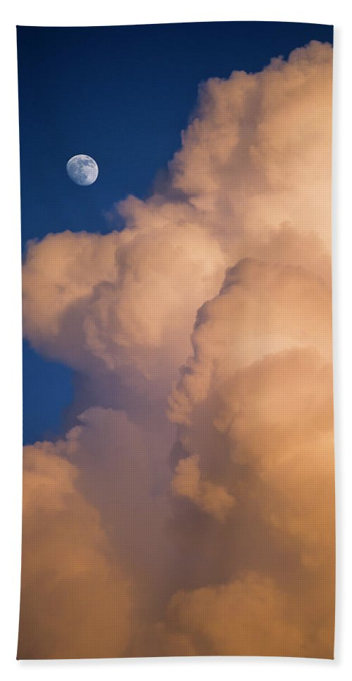 Clouds Hand Towel featuring the photograph Moon And Cloud by Robert Potts