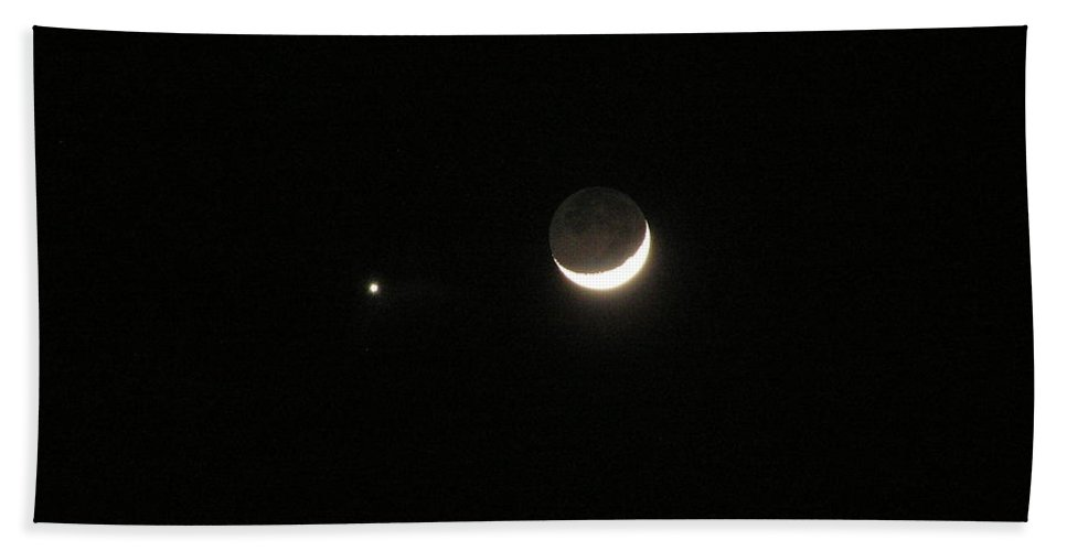 Moon Bath Sheet featuring the photograph Moon And Venus by Michael MacGregor