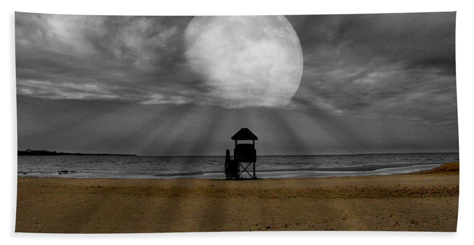 Selective Color Hand Towel featuring the photograph Moon Beams by Ms Judi