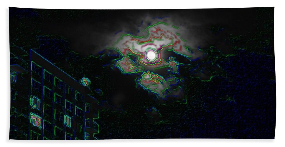 Moon Bath Towel featuring the photograph Moon Glow by Tim Allen