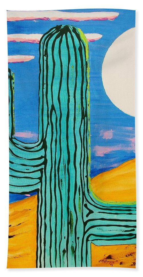 Impressionist Painting Hand Towel featuring the painting Moon Light Cactus L by J R Seymour
