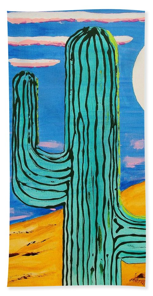 Impressionist Painting Bath Sheet featuring the painting Moon Light Cactus L by J R Seymour
