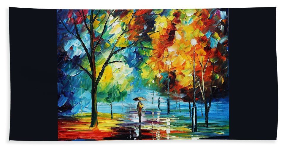 Afremov Hand Towel featuring the painting Moon Light Through The Rain by Leonid Afremov