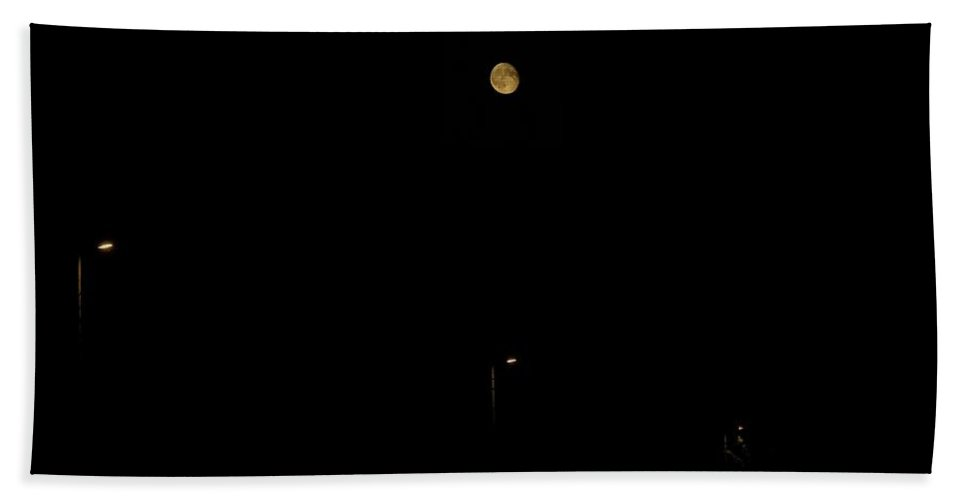 Moon Hand Towel featuring the photograph Moon Minimal by Explorer Lenses Photography