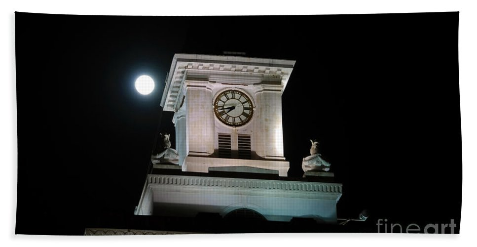Full Moon Hand Towel featuring the photograph Moon Over City Hall by David Lee Thompson