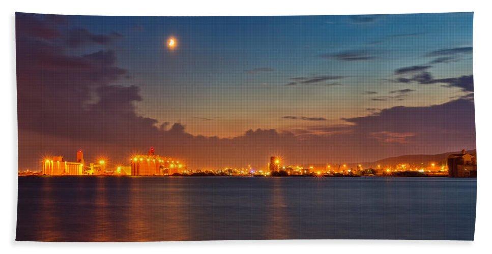 Sky Bath Sheet featuring the photograph Moon Over Duluth Harbor by John M Bailey