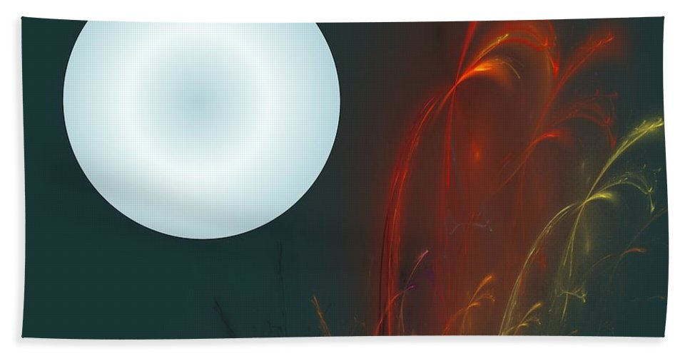 Digital Painting Bath Sheet featuring the digital art Moon Over Fire Weed by David Lane