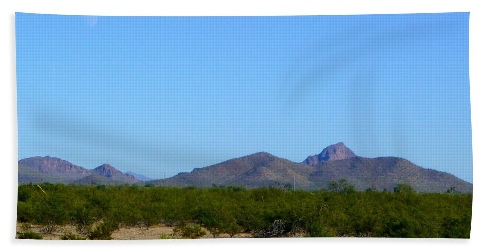 Tucson Bath Sheet featuring the photograph Moon Over My Mountains 2 by Teresa Stallings