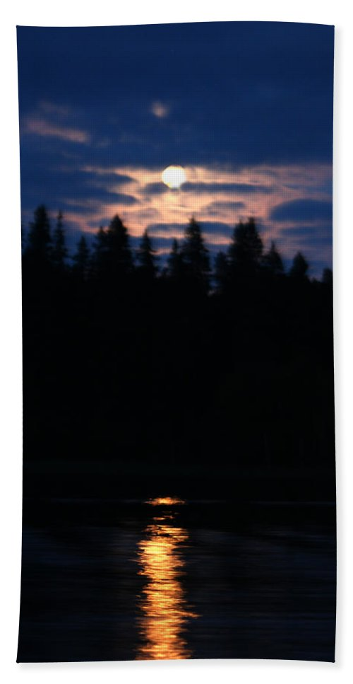 Moon Lake Reflection Water Trees Forest Sky Clouds Moonlight Piprell Lake Saskatchewan Canada Bath Sheet featuring the photograph Moon Over Piprell Lake by Andrea Lawrence