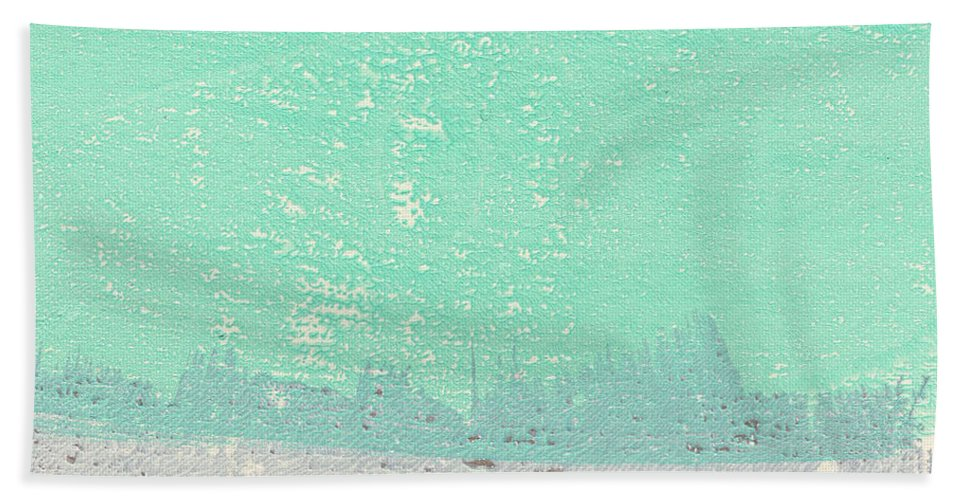 Abstract Bath Towel featuring the painting Moon Over The Sea by Linda Woods