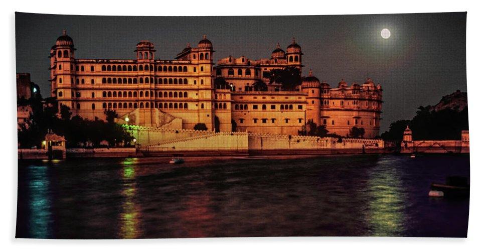 India Bath Sheet featuring the photograph Moon Over Udaipur by Steve Harrington