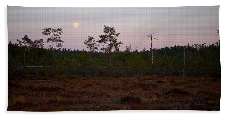 Lehtokukka Bath Sheet featuring the photograph Moon Over Wetlands by Jouko Lehto