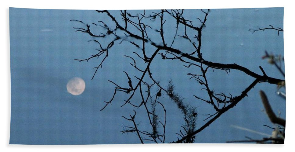 Moon Hand Towel featuring the photograph Moon Reflection by J M Farris Photography