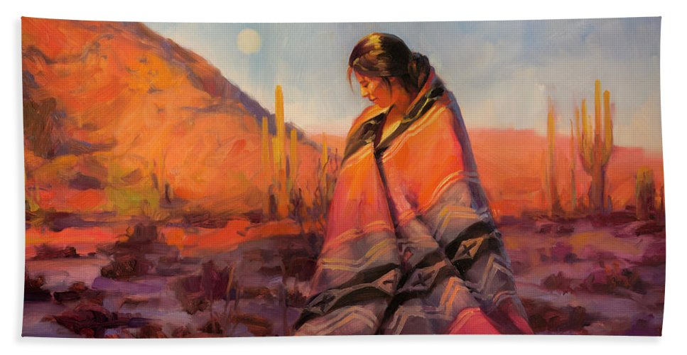 Southwest Bath Towel featuring the painting Moon Rising by Steve Henderson
