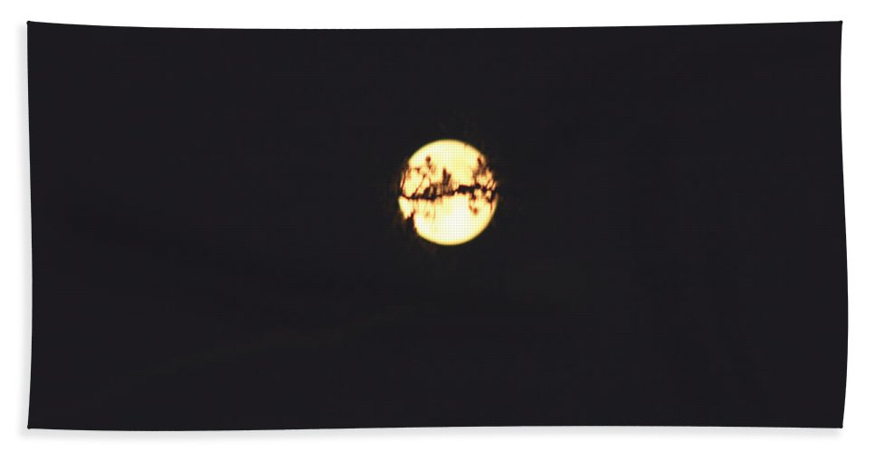Moon Trees Night Dark Sky Branches Lonely Love Hug Bath Sheet featuring the photograph Moon Wrapped by Andrea Lawrence