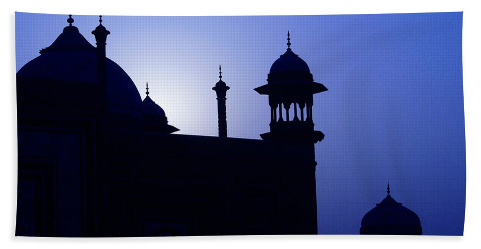 Mosque Hand Towel featuring the photograph Moonlight And Minarets by Michele Burgess