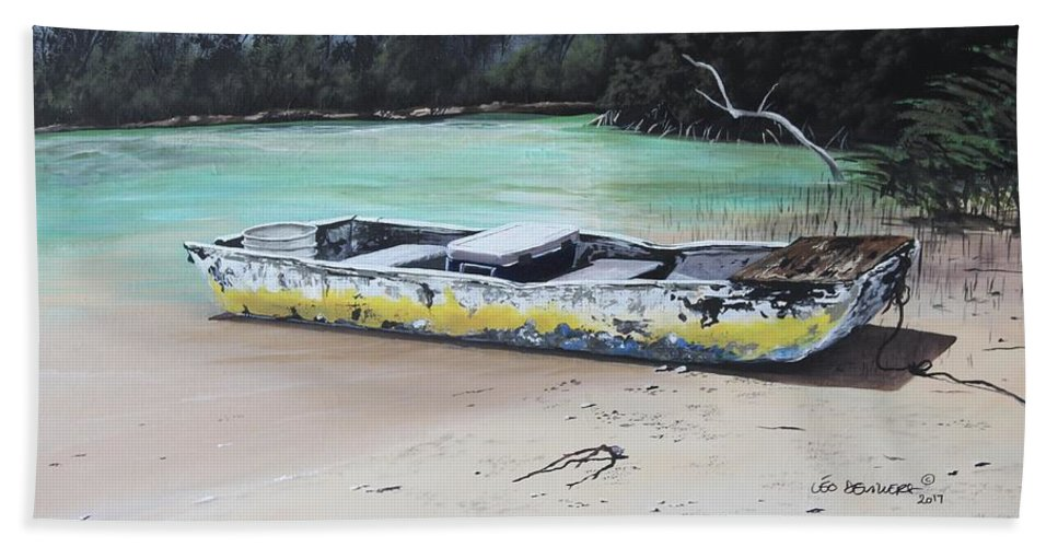 Boat Bath Sheet featuring the painting Moonlight At Gold Rock Creek by Leo Devillers