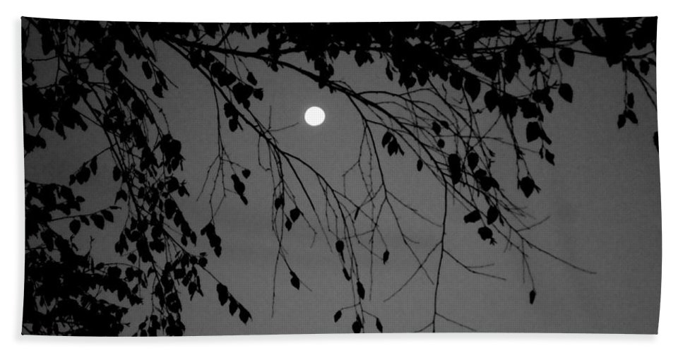 Moon Hand Towel featuring the photograph Moonlight - B And W by Arlane Crump