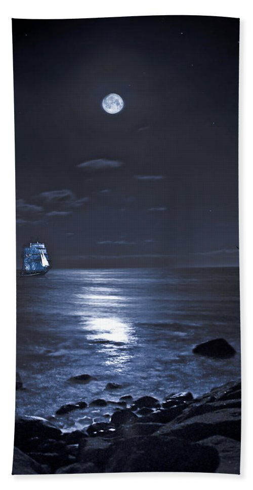 Tall Ship Hand Towel featuring the photograph Moonlight Bay by Chris Lord