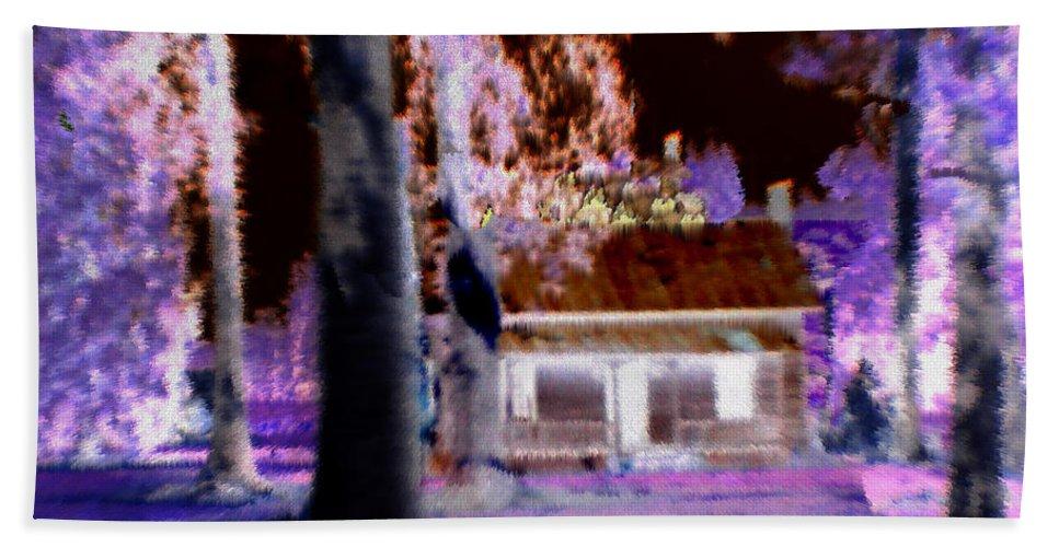 Cabin Bath Sheet featuring the digital art Moonlight Cabin by Seth Weaver