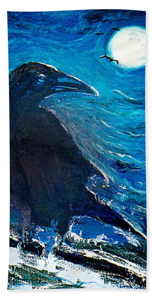 Katt Yanda Original Art Crow Moonlight Oil Painting Canvas Hand Towel featuring the painting Moonlight Crow by Katt Yanda
