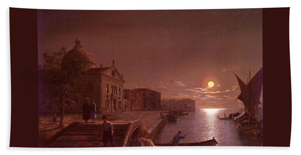 Palace Bath Towel featuring the digital art Moonlight In Venice Henry Pether by Eloisa Mannion