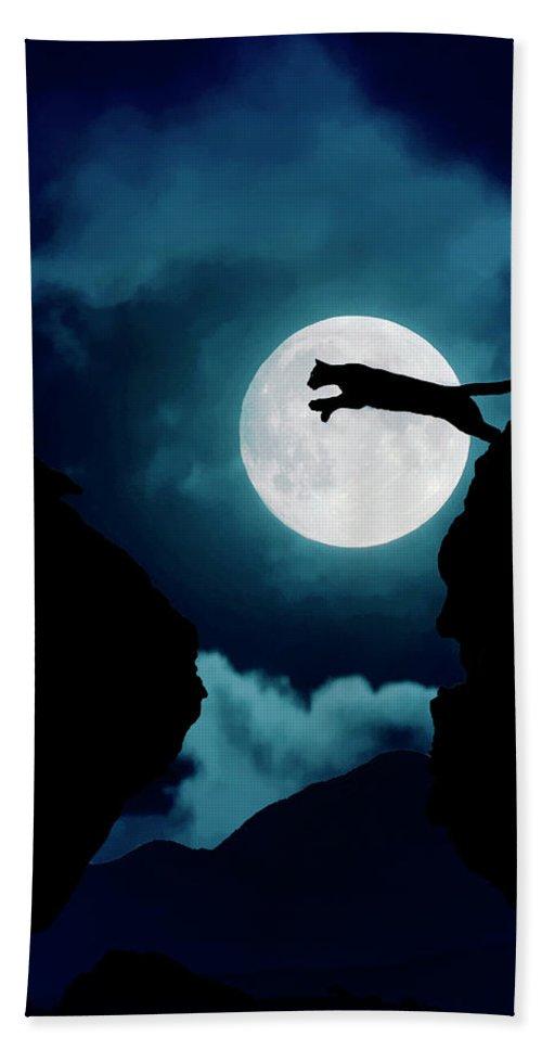 Mountain Lion Bath Towel featuring the photograph Moonlight Leap by Roy Nierdieck