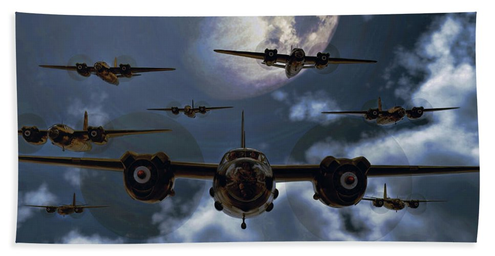 B-26 Hand Towel featuring the digital art Moonlight Marauders by Dave Luebbert