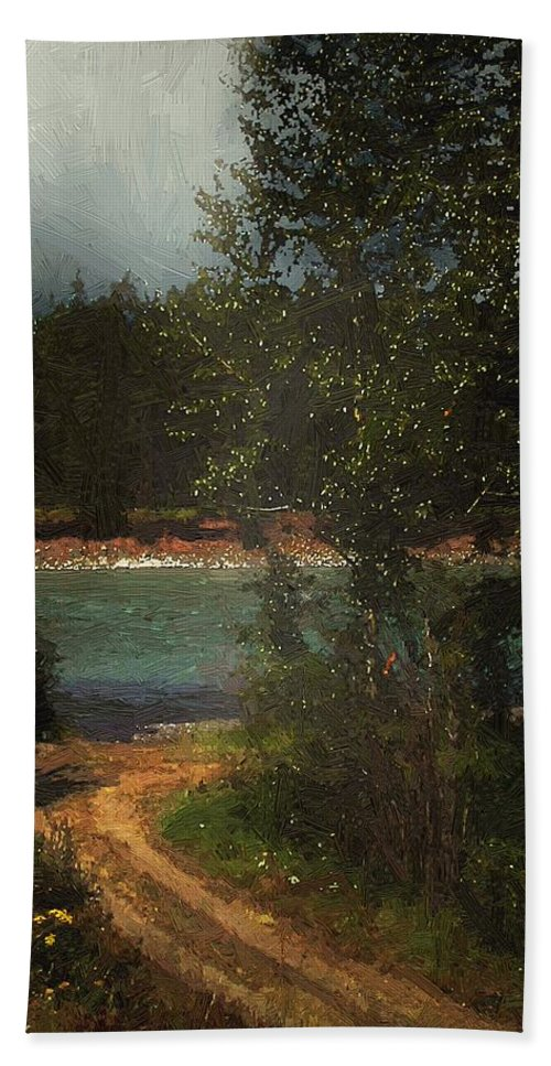 Forest Hand Towel featuring the painting Moonlight Mile by RC DeWinter