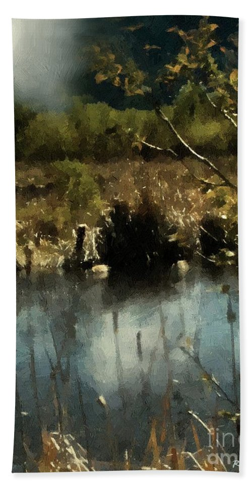 Autumn Hand Towel featuring the painting Moonlight On Canadian Lake by RC DeWinter