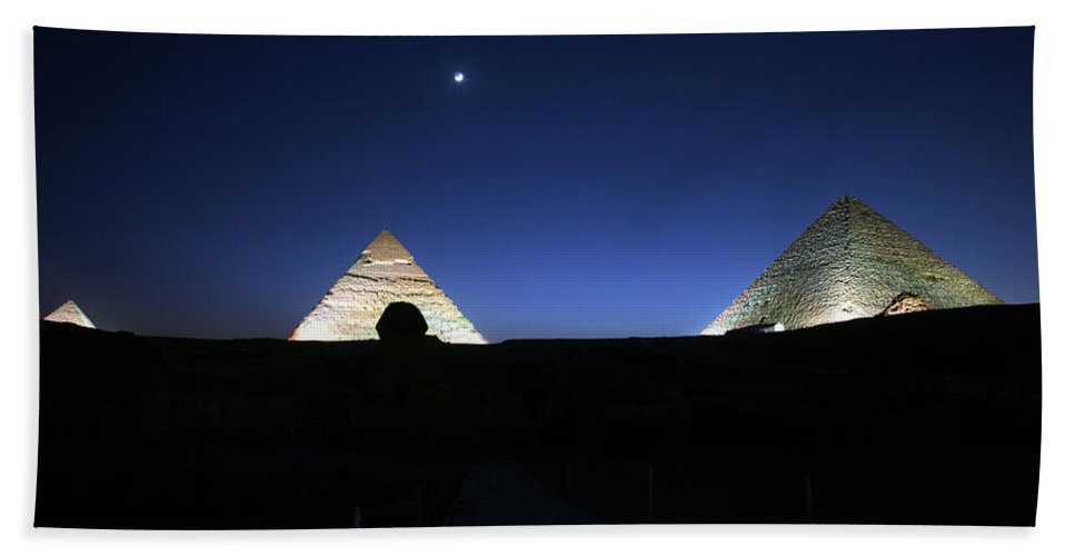 Moonlight Bath Towel featuring the photograph Moonlight Over 3 Pyramids by Donna Corless