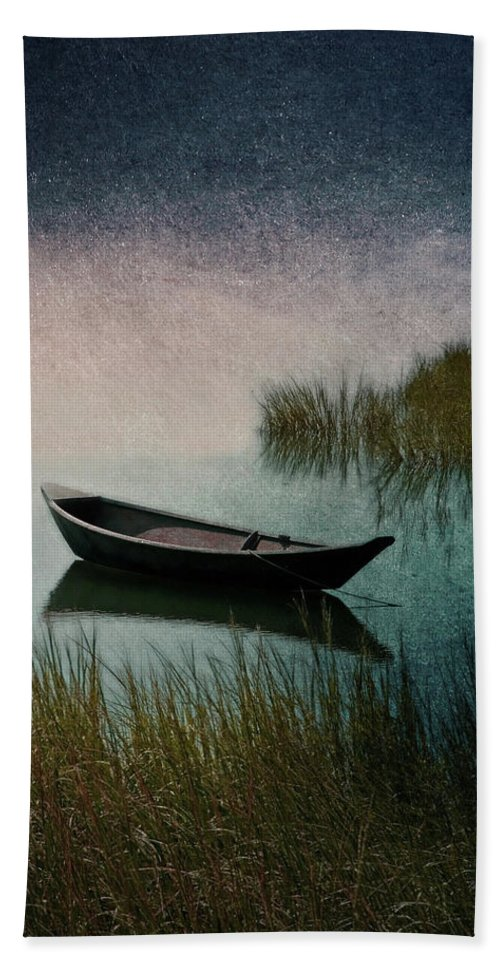 Wooden Canoe Artwork Hand Towel featuring the photograph Moonlight Paddle by Brooke T Ryan