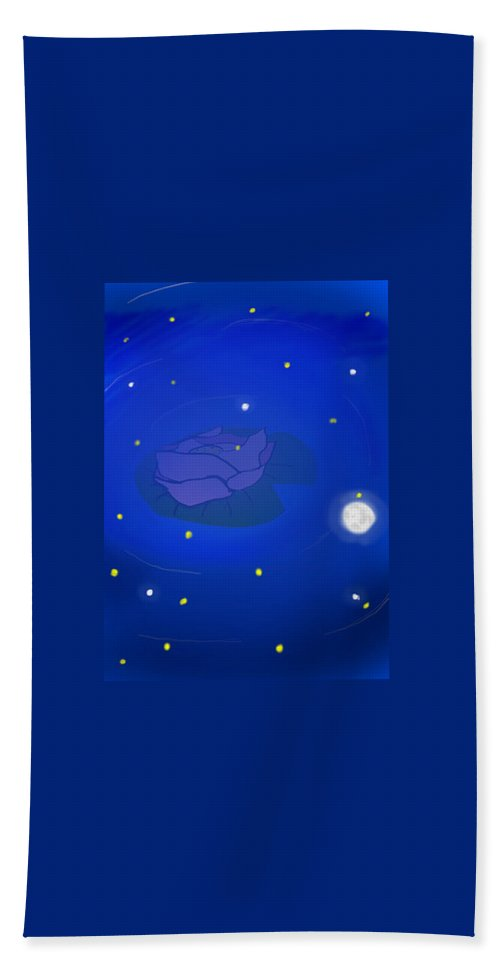Rose In Water Bath Sheet featuring the drawing Moonlight by Sofia Lechado