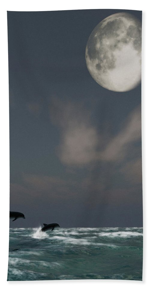 Oceans Hand Towel featuring the digital art Moonlight Swim by Richard Rizzo