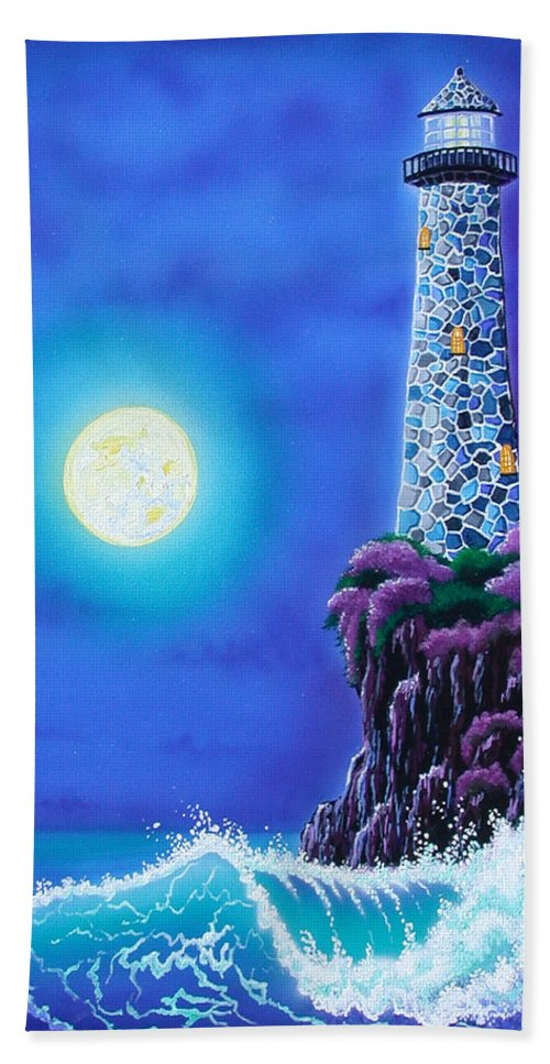 Lighthouse Bath Sheet featuring the painting Moonlight Vigil by Angie Hamlin
