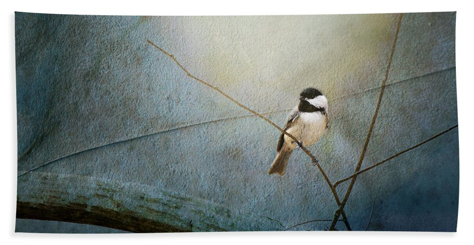 Bird Bath Sheet featuring the photograph Moonlit Chickadee by Sari Sauls