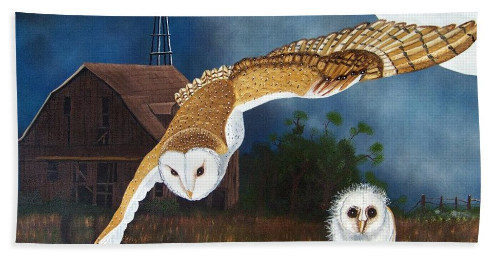Owl Hand Towel featuring the painting Moonlit Flight by Debbie LaFrance