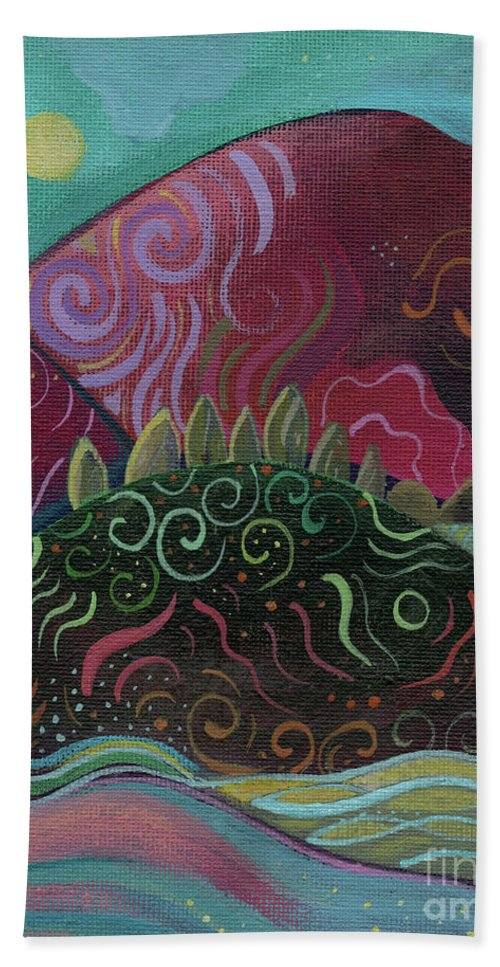 Abstract Landscape Bath Towel featuring the painting Moonlit by Helena Tiainen