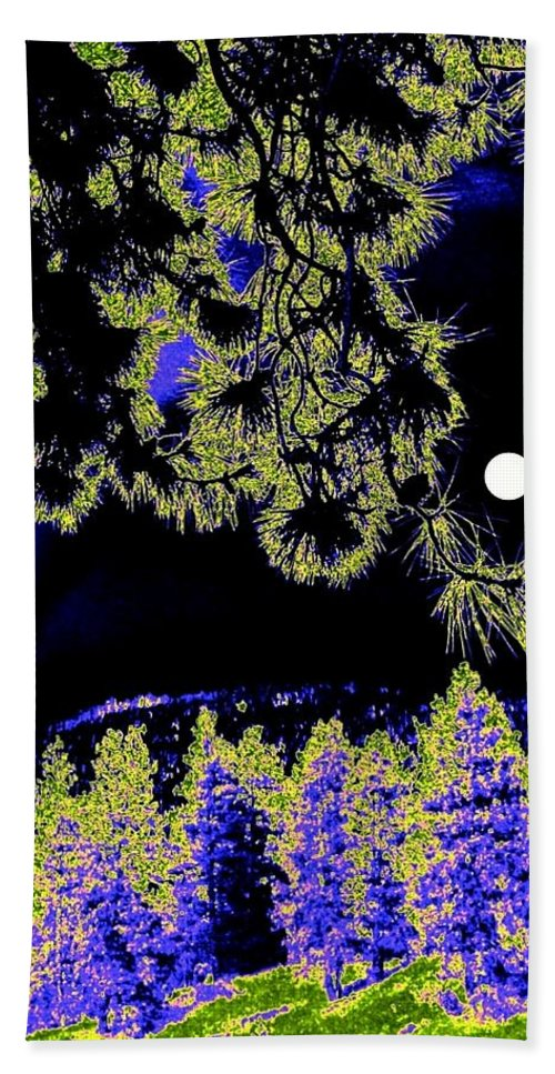 Abstract Hand Towel featuring the digital art Moonlit High Country by Will Borden