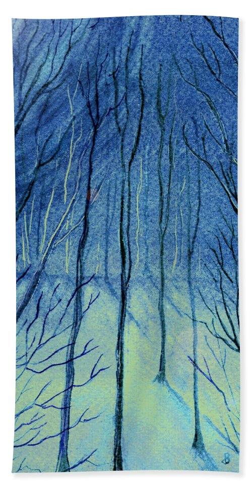 Watercolor Bath Towel featuring the painting Moonlit In Blue by Brenda Owen