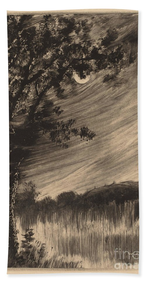 Hand Towel featuring the drawing Moonlit Landscape With Tree At The Left by William Fowler Hopson