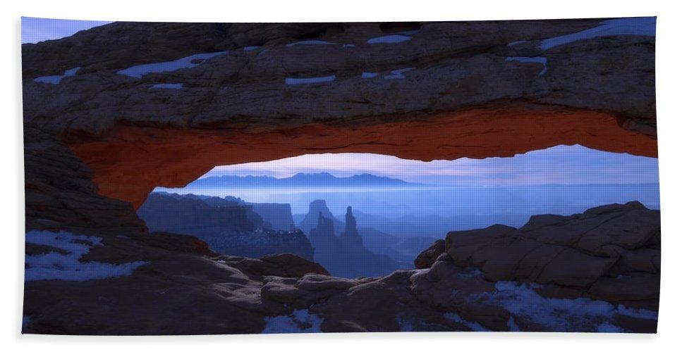 Moonlit Mesa Bath Towel featuring the photograph Moonlit Mesa by Chad Dutson