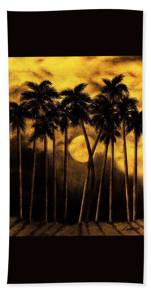 Moonlit Palm Trees In Yellow Hand Towel featuring the mixed media Moonlit Palm Trees In Yellow by Larry Lehman