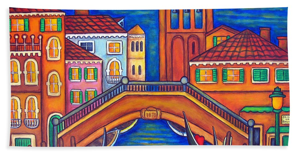 Moonlit Hand Towel featuring the painting Moonlit San Barnaba by Lisa Lorenz